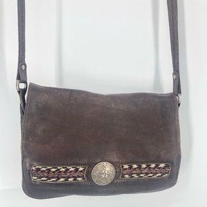Vintage leather southwest crossbody bag